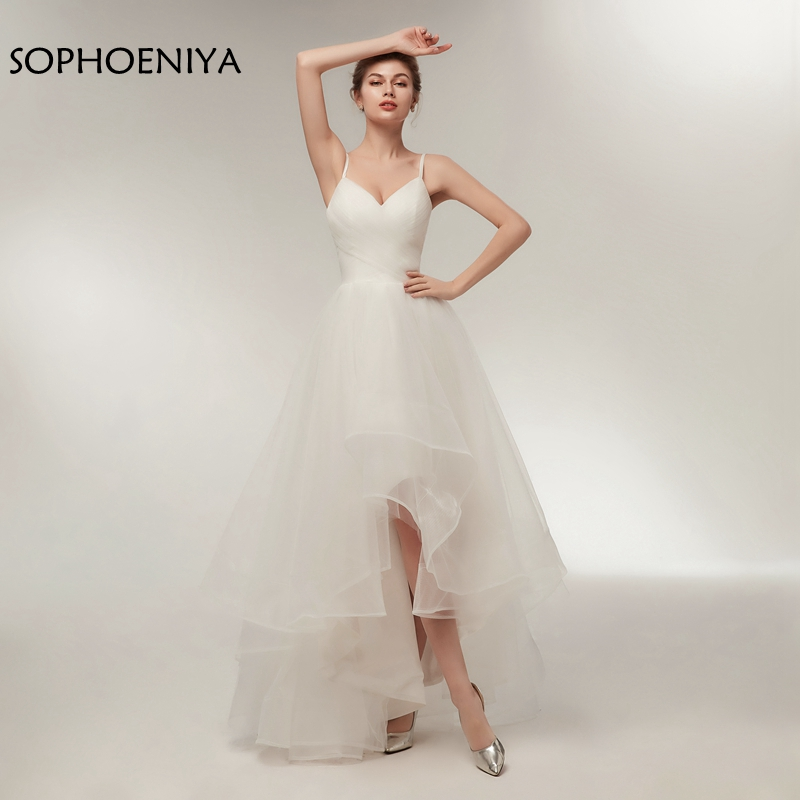 New Arrival Spaghetti Straps Short Wedding Dress 2019 Robe