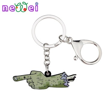 NEWEI Sweet Acrylic Halloween Zombie Hand Finger Key Chains Keychain Rings Fashion Jewelry For Women Girls Bag Car Gift Charms