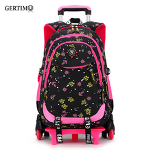 2/6 Wheels high quality girls trolley backpack schoolbag orthopedic bags for children trolley school bag Boys Backpack Shoulders цена 2017