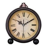 Retro European Round Alarm Clock Stand Silent Quartz Clock Simple Bedside 6 Inch Simple Soonze Bell