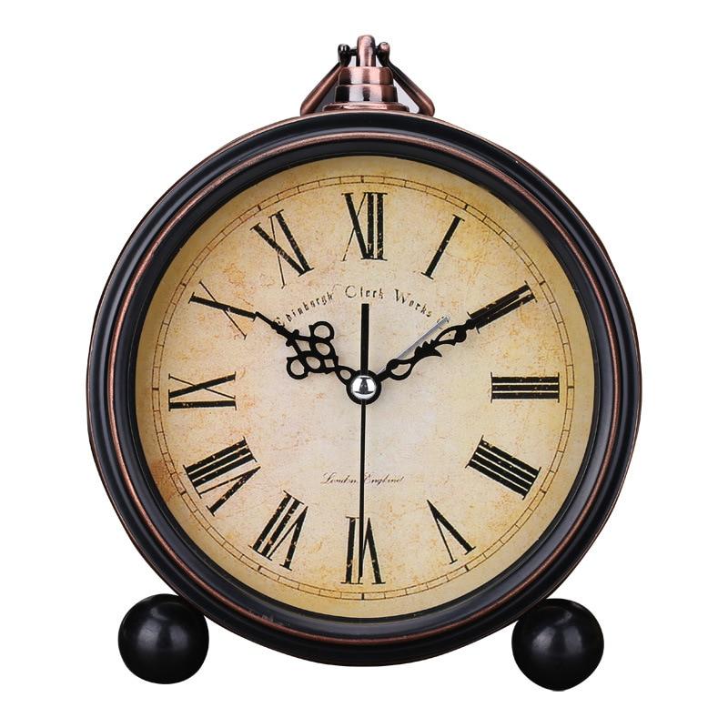 Retro European Round Alarm Clock Stand Silent Quartz Clock Simple Bedside 6 Inch Digital Soonze Bell Reloj Alarm Clock