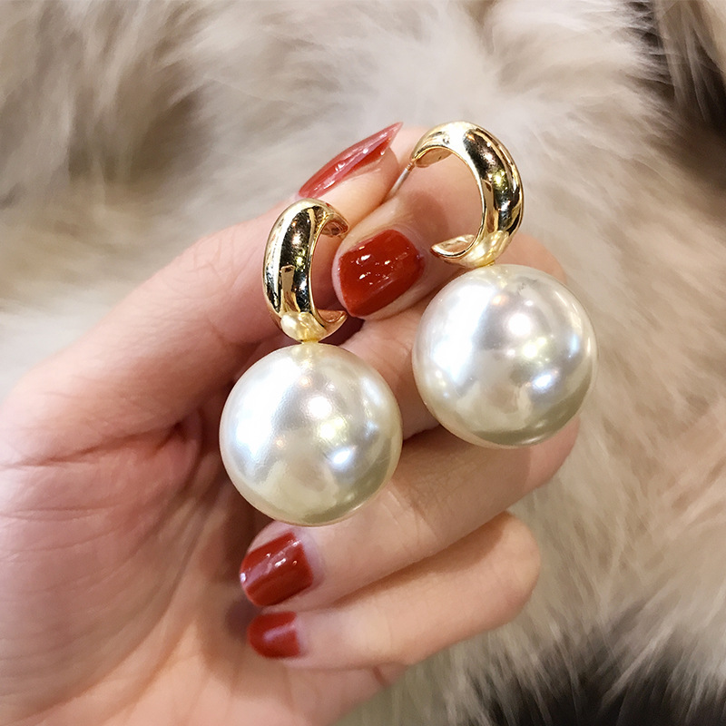 Personality Simulated Pearl Earrings For Women White Red Big Ball Earring Fashion Jewelry Bijoux