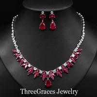 ThreeGraces Nupcial New Rose Red Cristal Austríaco Folha Gota Brincos Colar de Zircão Cúbico Conjuntos de Jóias de Casamento Para Noivas JS080