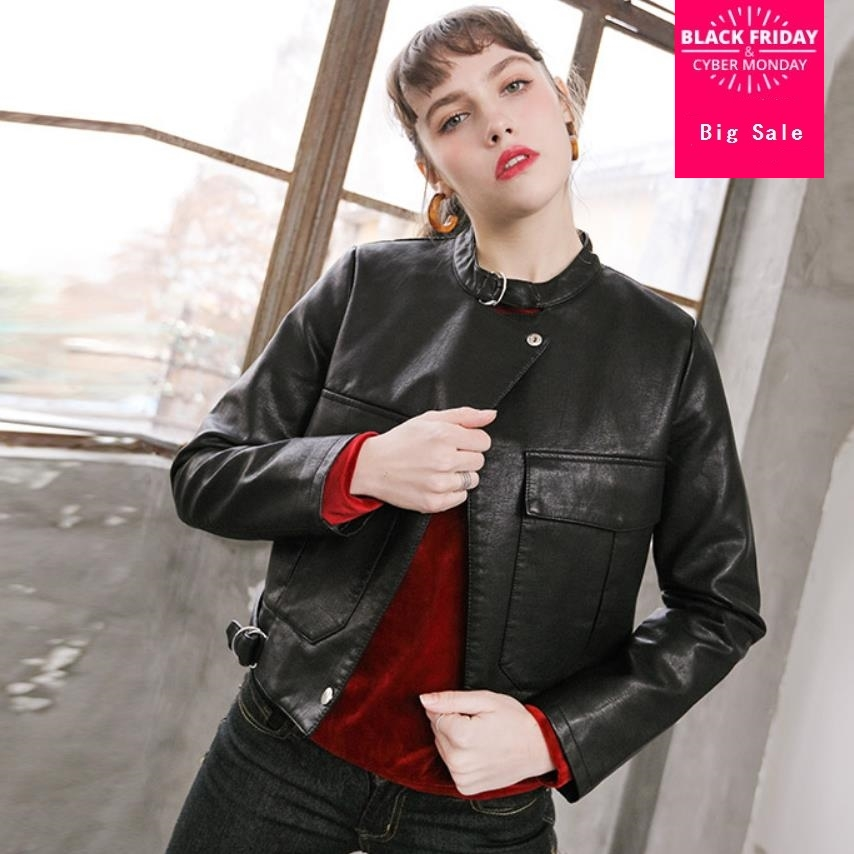 Fashion brand british style great quality pu   leather   jacket Women's single breasted short   Leather   Jacket wq406 dropship