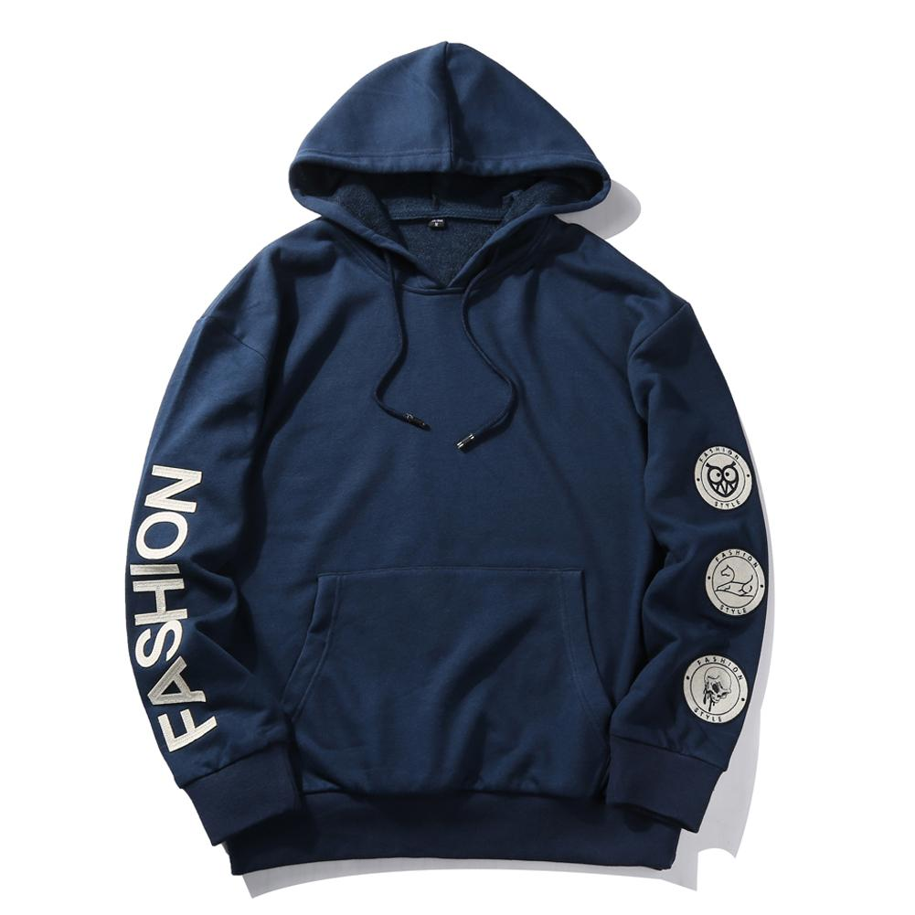 Young Men's Casual Hooded Sweatshirt Badges Flood IN The Streets  Men Casual Loose Pullovers Large Size 2XL