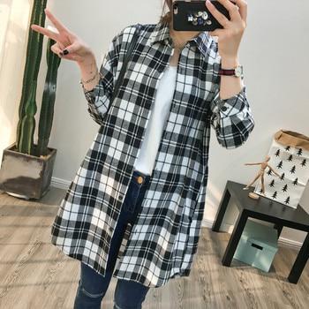 Women's Cotton Blouse Plaid Shirt Autumn Loose Casual Long Sleeve