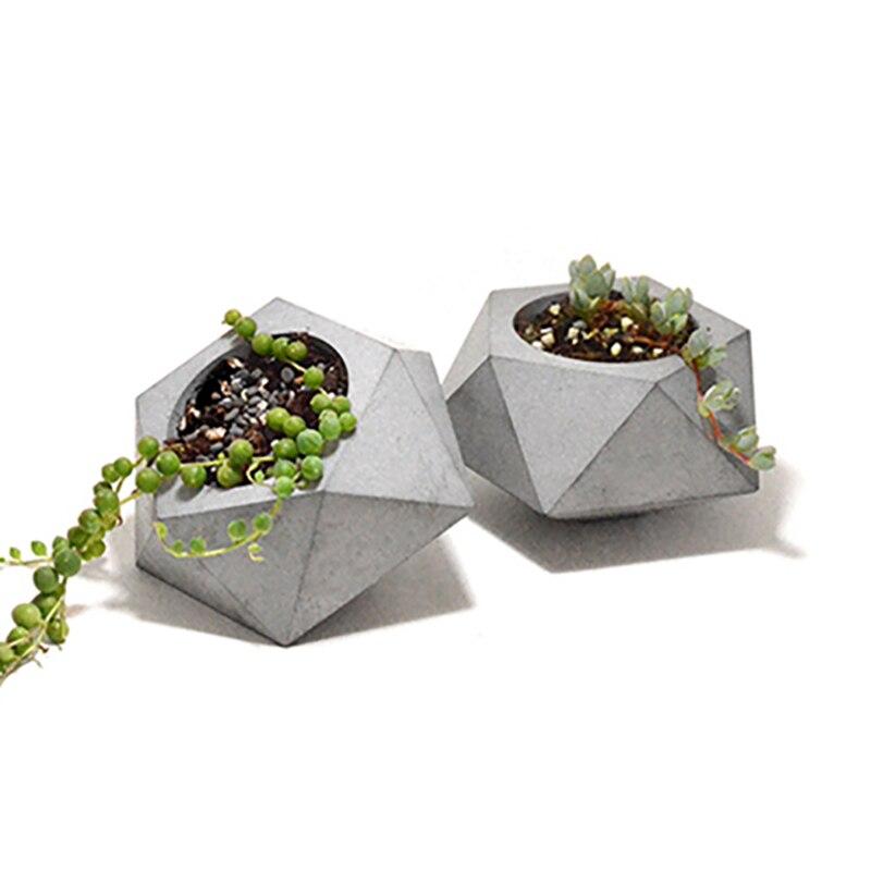 Силиконовые формы бетонные молд для цветочного горшка треугольные многогранник ручной работы Кашпо из цемента инструмент