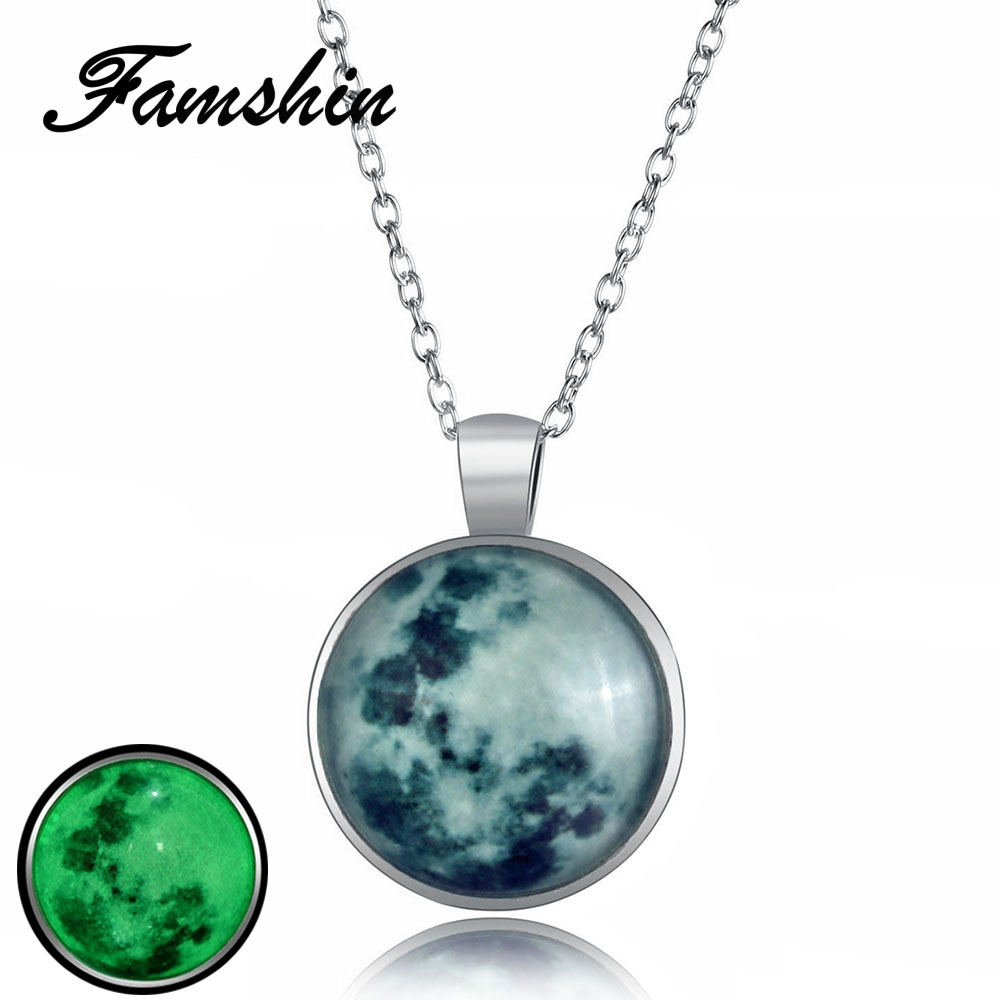2018 Brand New Moon and Gems Pendant Necklace Trend Women Jewelry Gift