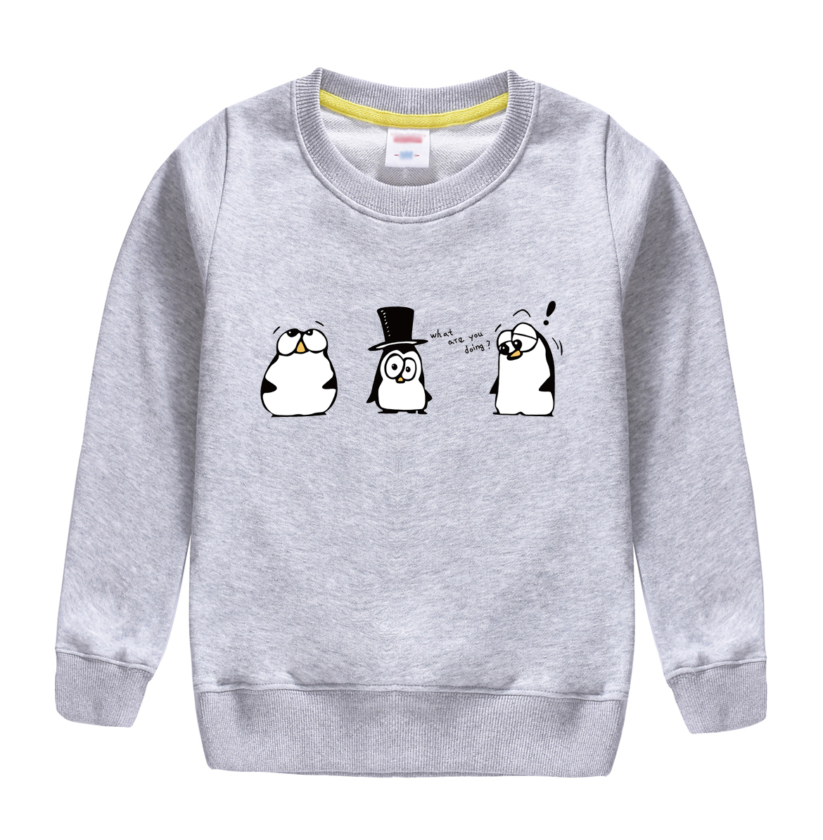 """what are you doing""pattern printed 2017 new fashion cotton sweatshirt , keeping warm and Non-fading , design for children"