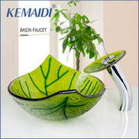 KEMAIDI peint à la main vert feuille forme salle de bains lavabo évier avec mélangeur Pop Up Drain évier ensemble salle de bains robinets et robinet