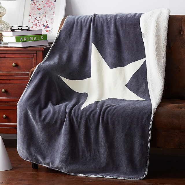 White Star Pattern Grey Throw Blanket Soft C Fleece Summer Bed Sofa Throws Multifunctional Double
