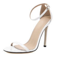 2019 womens shoes sandals sexy thin high-heeled peep toed cover heel woman Buckle Red nude black white wedding shoes35-43