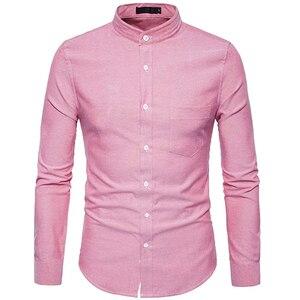 Image 1 - Рубашка мужская приталенная с воротником стойкой, х/б, 6XL