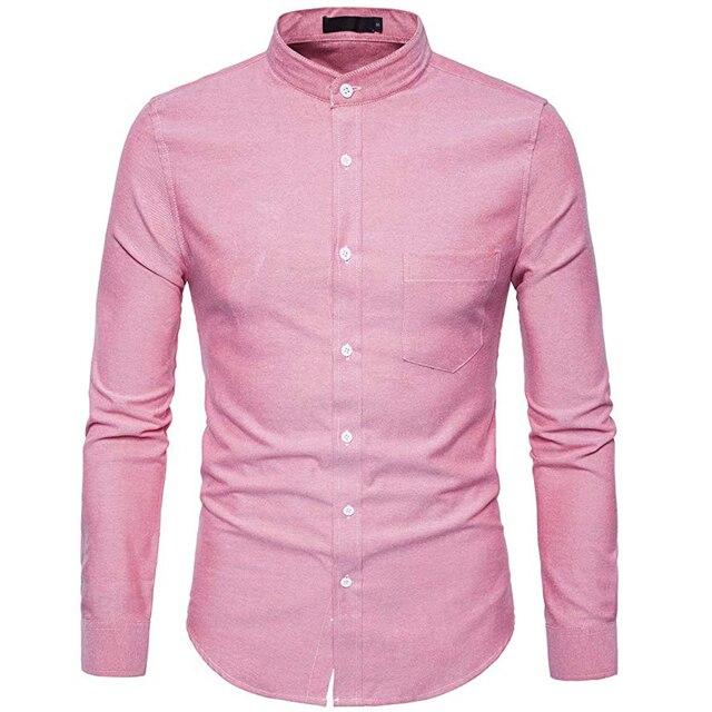 Рубашка мужская приталенная с воротником стойкой, х/б, 6XL