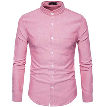 Oxford Cotton Mens Dress Shirts 2018 Spring New Stand Collar Chemise Homme Casual Slim Fit Camisas Youth Style Male Clothing 6XL