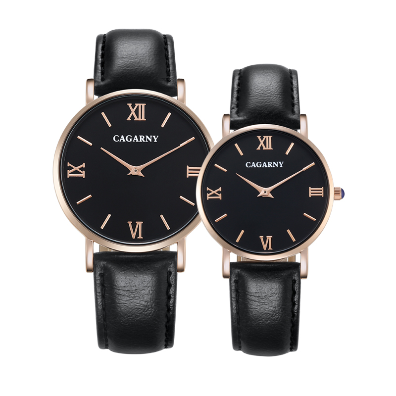 Classic Lover's Watches Vogue Leather Strap Quartz Watch For Women Waterproof Rose Gold Case Men's Wristwatches Cagarny Clock
