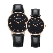 Luxury Watch Women Rose Gold Fashion Quartz Womens Watches Men Unisex Lovers Wristwatches Leather Strap Reloje Mujer Cagarny New