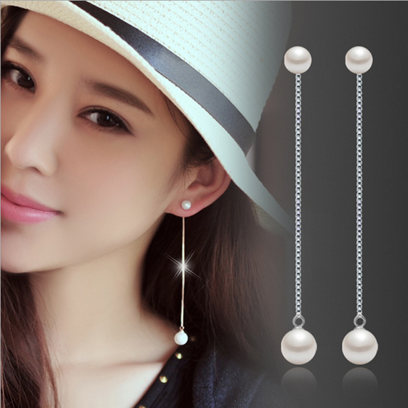 Earring post long chain 925 sterling silver white artificial pearls nickel-free women and girls simple fashion jewelry