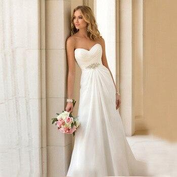 Robes de novia 2019 été plage robes en mousseline De soie pour mariage Sexy sans bretelles Boho sur mesure robes de mariée Robe De Mariee