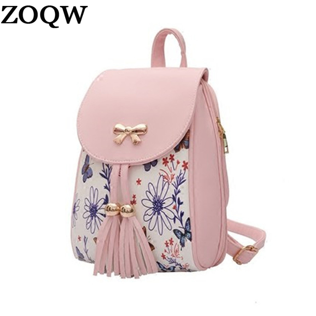 18b6d1c94d ZOQW 2018 Mini Backpacks For Teenage Girls Flower Printing Backpack Female  Leather Small Women Back Pack sac a dos WYQ722