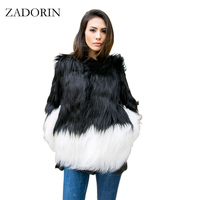 ZADORIN Plus Size Mixed Color Faux Fur Coat Women Long Sleeve Black Fake Fur Jacket Female