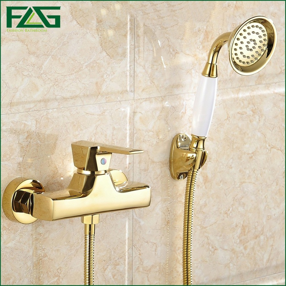 ФОТО FLG Concise Wall Mounted Bathroom Faucet Bath Tub Mixer Tap With Ceramic Handle Hand Shower Head Gold Plated Shower Faucet HS040