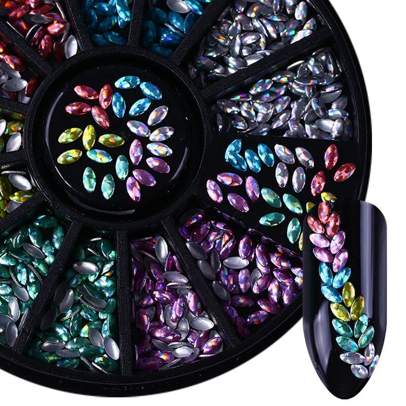 3D Nail Decoration Marquise Nail Studs Laser Shining Nail Art Decorations In Wheel  DIY Nail Art