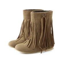 Горячие Колледж черного, желтого цвета без каблука Для женщин до середины икры сапоги с бахромой женская зимняя обувь с бахромой A4-9 большие Размер 4 11 33 45