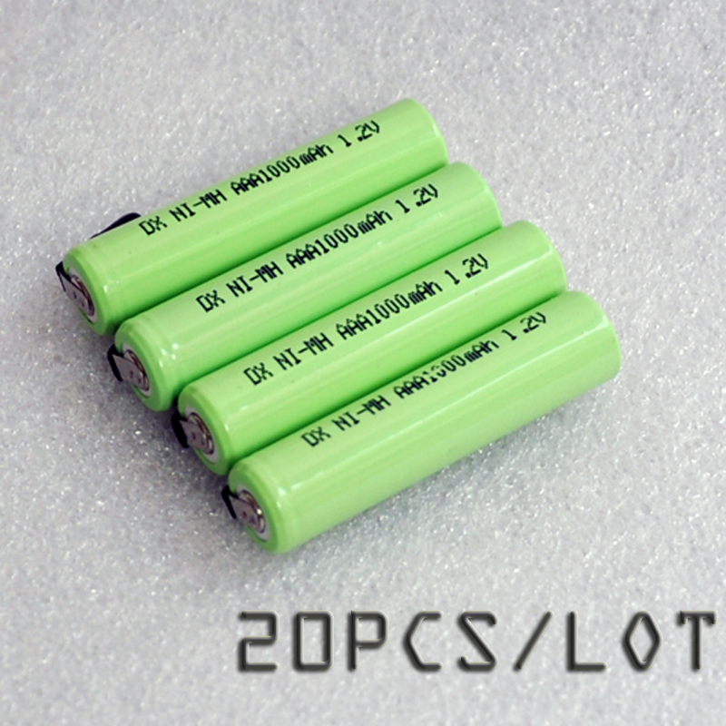 20PCS/LOT 1.2V AAA battery 1000mah 3A 10440 ni-mh rechargeable cell with pins for Philips Braun electric shaver razor toothbrush image