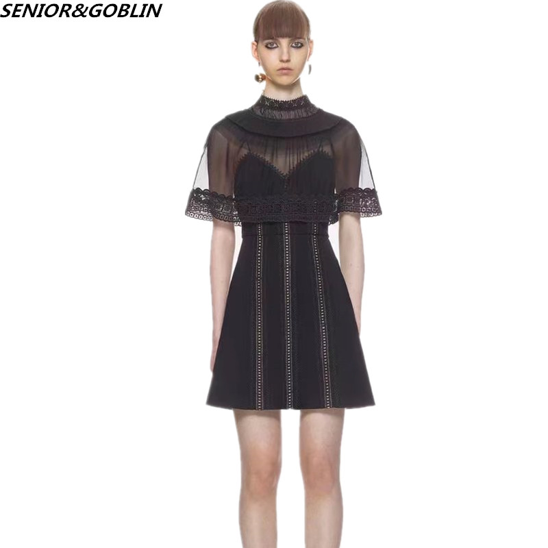 Just 2019 High Quality New Self Portrait Lace Embroidery Patchwork Runway Black Dress Women Cloak Sleeve Backless Mini Party Dress Women's Clothing