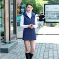 Жилет Аппликации Chalecos Mujer Вниз Длинные Solid 2016 Новый Корейский Мода Женский Перо Женская Куртка Завод Прямые Поставки