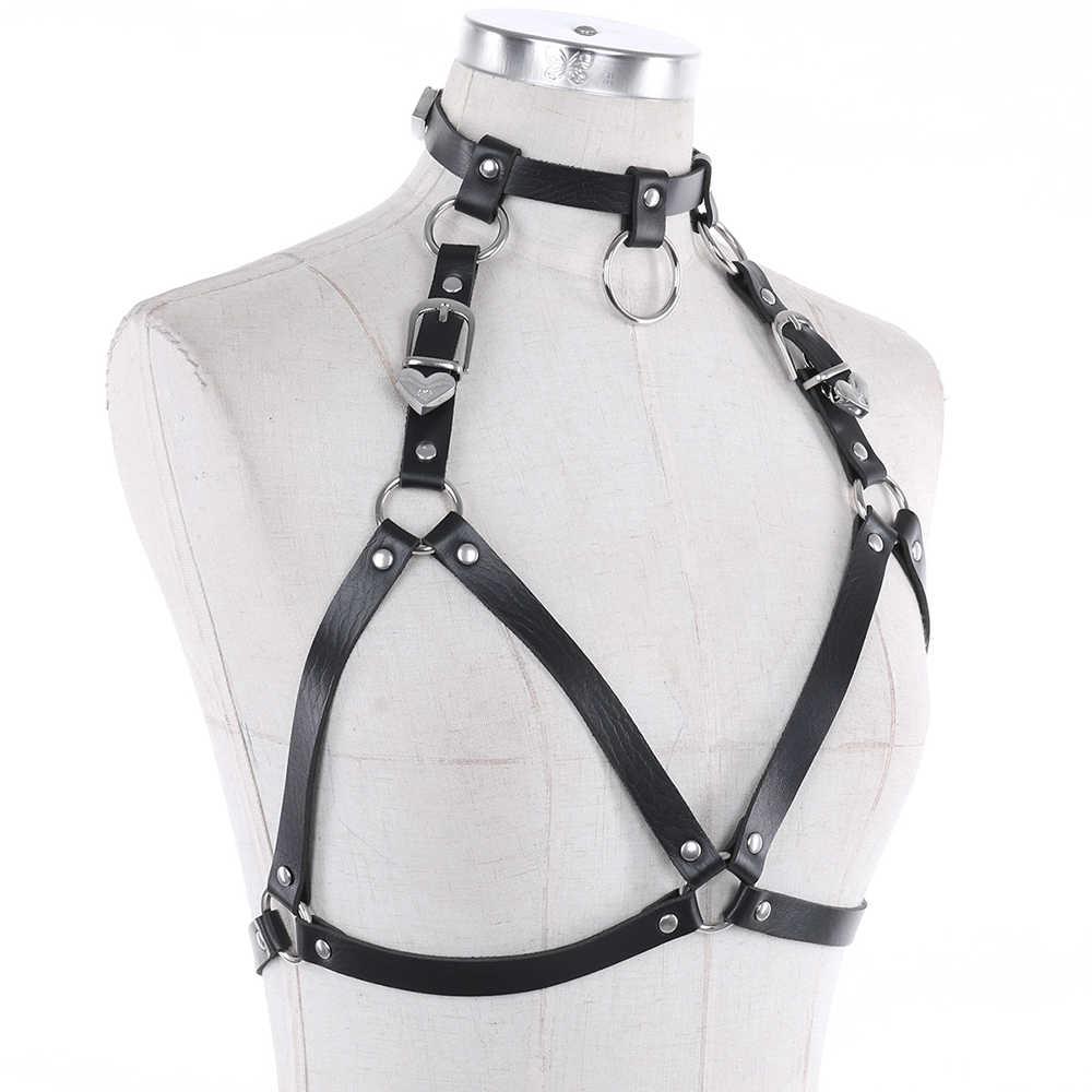 IEFiEL Vrouwen Lingerie Faux Leather Verstelbare Body Borst Harnas Bondage Kostuum Kleding voor Avondfeest Prestaties