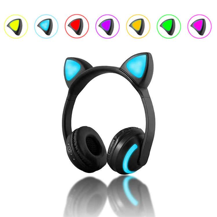 พับไร้สายบลูทูธหูฟังกระพริบแมวหูสเตอริโอเพลงหูฟังชุดหูฟังที่มีไฟLEDสำหรับโทรศัพท์สาวเด็ก