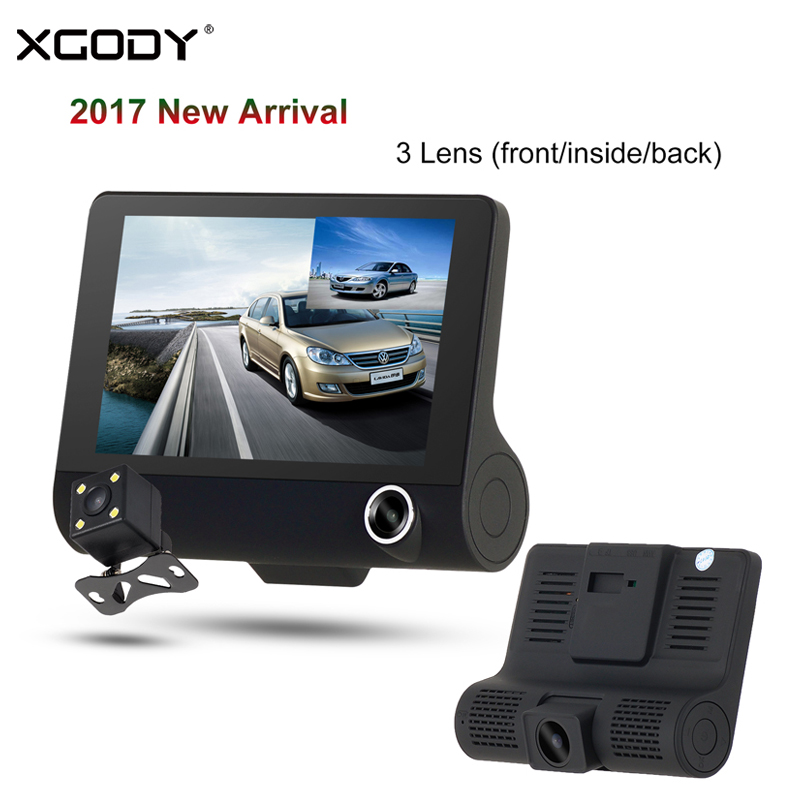 XGODY C2 4.0 Dash Cam Car Camera Dual Lens+Rearview Mirror Camera 3 Lens Night Vision Car Dvrs Video Recorder Dashcam Camcorder