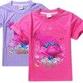 Trolls de Aniversário Das Meninas T Camisa de algodão de Manga Curta T-shirt Venda Quente Crianças Tops estilo Presente de Aniversário Do Bebê Menina Infantil verão