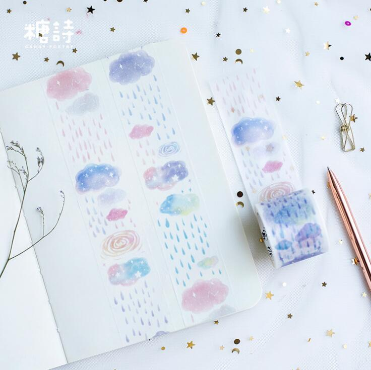 3.5 cm Wide Cloud And Rain Washi Tape Adhesive Tape DIY Scrapbooking Sticker Label Masking Craft Tape bim and the cloud