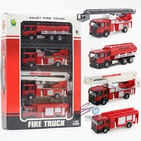 1:32 4PCS Fire truck Alloy Car Truck Engineering vehicles Aerial Rescue Model Educational Toys for Children Baby boys Gift