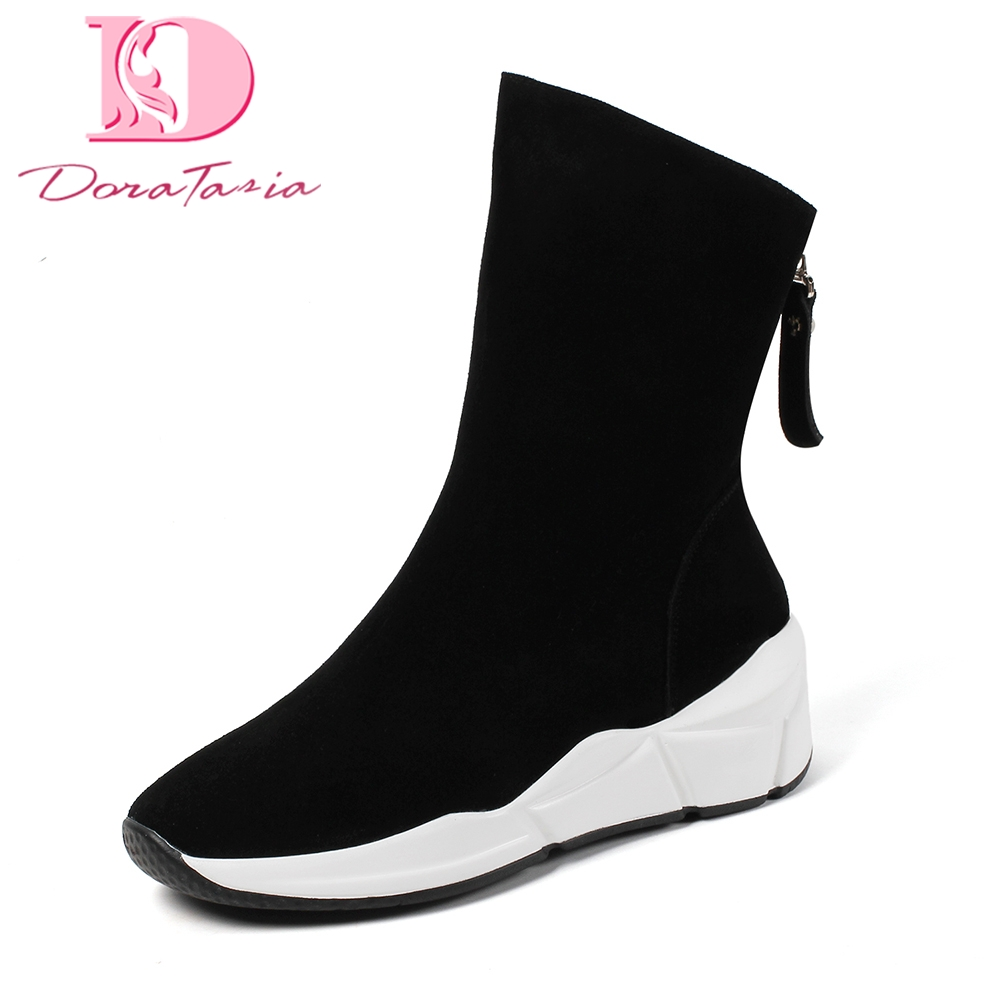 DoraTasia Brand New Cow Suede leather Zip Up High Heels sneakers Shoes Woman Boots Hot Sale Solid Mid Calf Boots Woman Shoes doratasia 2018 genuine leather zip up cow leather shoes woman martin boots chunky heels wholesale mid calf boots woman shoes