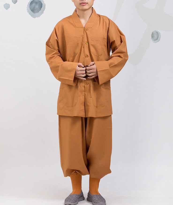 Primavera e l'estate grigio/giallo cotone Buddista shaolin Monaci uniformi di arti marziali vestiti laici meditazione abbigliamento zen abiti