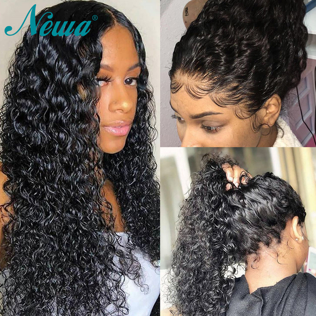 Pelucas de pelo humano frontal de encaje con pelo de bebé peluca frontal de encaje rizado Pre desplumado para mujeres negras pelo Remy brasileño 13x4 NYUWA pelucas