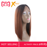Ombre Black Blonde Red Color Yaki Straight Lace Front Wigs X TRESS Blunt Natural Hairline Middle Part Synthetic Cosplay Lace Wig