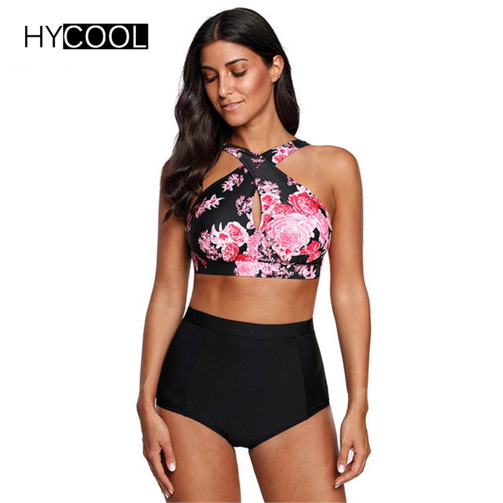HYCOOL Swimwear Women Female Swimsuit Bikinis High Waist Bathing Suits Print Retro Floral Bikini Set Swim Wear Plus Size XXL цена
