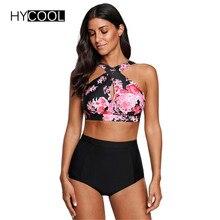 HYCOOL Swimwear Women Female Swimsuit Bikinis High Waist Bathing Suits Print Retro Floral Bikini Set Swim Wear Plus Size XXL