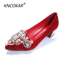 Spring and autumn rhinestone pointed toe low-heeled shoes maternity red  wedding shoes thick heel 16fd0cdaec10