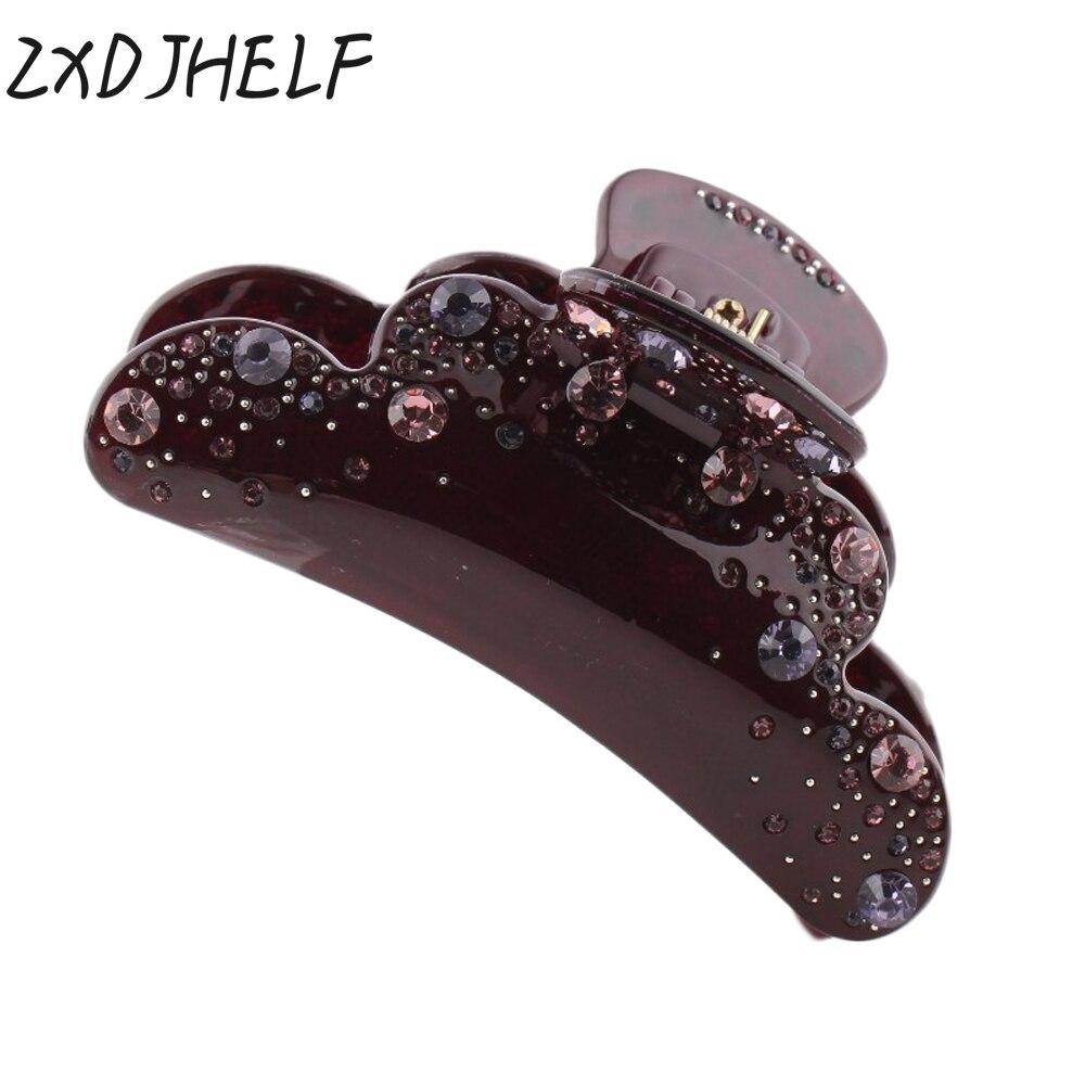 ZXDJHELF Brand Women Barrettes Fashion Acrylic Hair Claw Accessories Shiny Crystals Headwear Ornament For Gril Nice Gifts F128