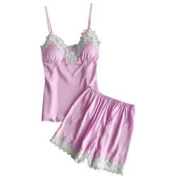 Для женщин кружевная Пижама комплект Дамское белье пикантное нижнее белье, Белье для сна Ночное белье с шортами для девочек комплект из 2