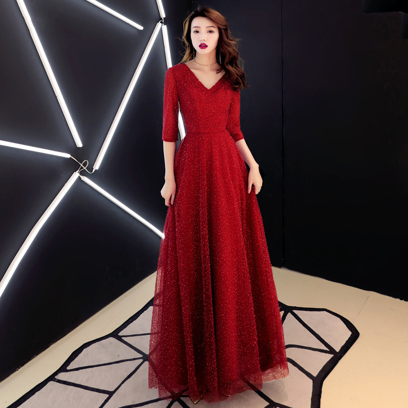 Luxury Bling Deep-V Burgundy Sexy Tulle   Evening     Dresses   2019 New Sexy Half Sleeves Backless Formal   Evening   Gowns