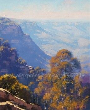 Pintura al óleo de grandes pinturas de Montañas Azules, arte australiano para decoración del hogar, cuadros de pared del dormitorio