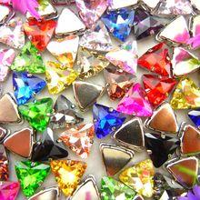Szkło kryształowe srebrnym mocowaniem 18mm 10 sztuk ładne kolory kształt trójkąta szyć na koraliki z kryształu górskiego odzieży ubrania dekoracji diy