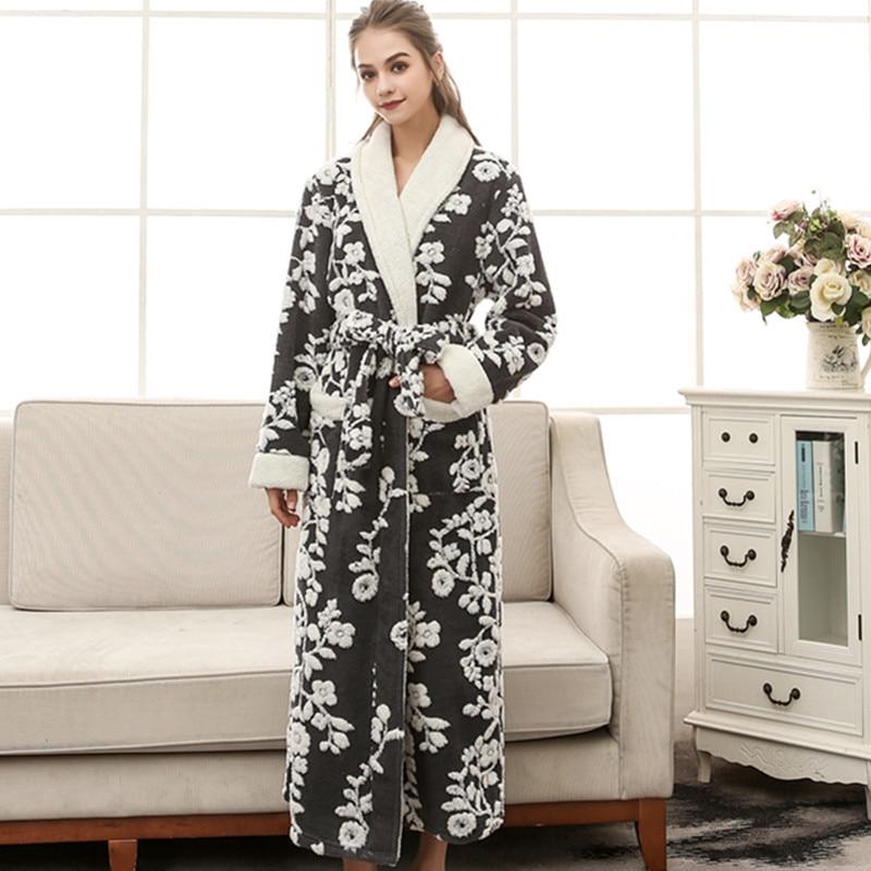 Floral Sexy femmes Kimono Robe de bain Jacquard longue Robe hiver chaud vêtements de nuit chemise décontracté flanelle chemise de nuit - 3